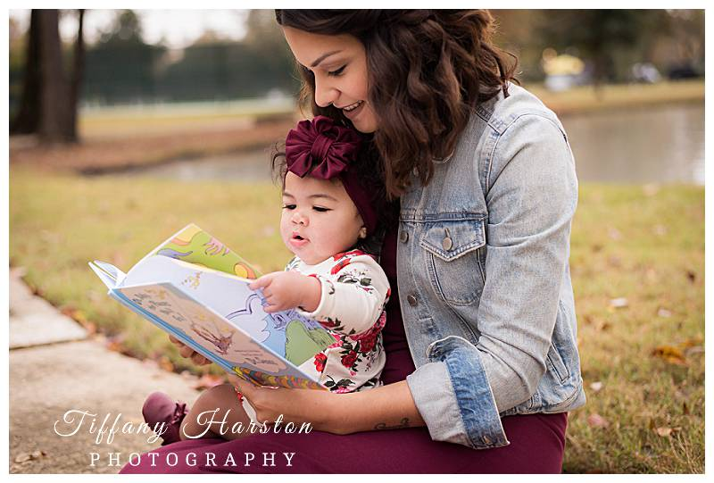 humble family photographer taking photos of girl reading